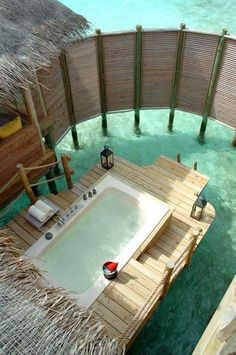 """Want to go: The Maldives seem to have the coolest hotel/villa features. """"Outdoor Private Bath - Soneva Gili By Six Senses - North Male Atoll, Maldives"""" Vacation Destinations, Dream Vacations, Vacation Spots, Gili Lankanfushi, Places To Travel, Places To Go, Tahiti, Bora Bora, The Good Place"""