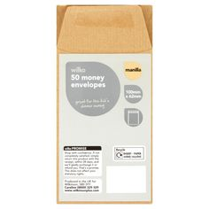 Wilko 50 Money Envelopes Manilla 100mm x 62mm | Envelopes | | Stationery Adhesives from Wilkinson Plus