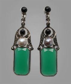 GUSTAV BRAENDLE, THEODOR FAHRNER Art Deco Earrings   Silver  Chalcedony Pearl Onyx Marcasite German,ca 1925