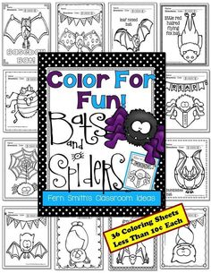 Spiders and Bats Color For Fun Printables for your Classroom. Can't do Halloween at your school? This resource has 36 Spider and Bat Coloring Pages for your classroom or personal children's fun! More than enough for one page a day for the entire month of October. #FREE Reading Bat in #Free Preview #Freebie #Spiders #Bats #colorforfun #October #FernSmithsClassroomIdeas #TPT $paid