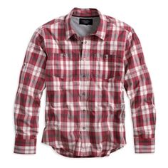 Harley Men's Black Label Long Sleeve Red Plaid Woven Shirt