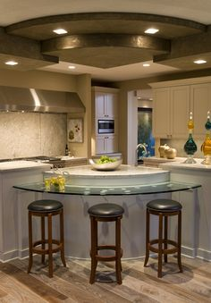 Amazing Kitchen Plans On Glass Kitchen Island Table Pictures Of Kitchen Plan With Round Barstool Luxury Kitchens, Cool Kitchens, Kitchen Island With Seating, Island Table, House Plans And More, Stylish Kitchen, Rustic Kitchen, Glass Kitchen, Planer