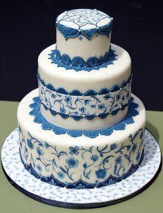 Don't like the cake design, but the copenhagen blue may be nice Indian Wedding Cakes, Elegant Wedding Cakes, Elegant Cakes, Beautiful Wedding Cakes, Gorgeous Cakes, Pretty Cakes, Amazing Cakes, Indian Weddings, Fondant Cakes