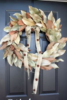 DIY grapevine and magnolia leaf wreath