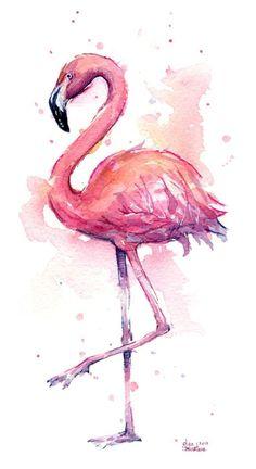 flamingo, whimsical, tropical, pink flamingo, flamingo watercolor www.OlechkaDesign.com