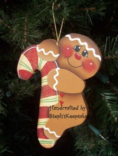 Handpainted  Christmas Cookie Ornament by stephskeepsakes on Etsy, $7.25