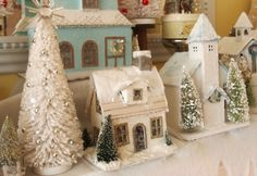 Beautiful Vintage Putz Style Houses * Glitter, Holiday & Christmas Houses with Beautiful Bottle Brush Trees * Design & Decor DIY Inspiration * For the love of tiny & shiny!