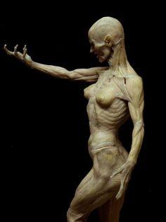 Female Muscles Gesture Lateral Side Torso Arm Arms Pelvis Neck Head  Paul Komoda sculpture
