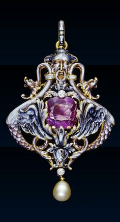 Lucien Falize - A Renaissance Revival gold, enamel, pearl and diamond pendant, French, circa 1885. Inspired by the enamelled gold figurative pendants of the Renaissance, this example frames the central stone between two dragons following a design by Hans Collaert.
