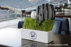 Bar Mitzvah Baseball Theme Centerpieces with Sports Glove, Ball & Grass {Party Planner: The Event of a Lifetime} - mazelmoments.com
