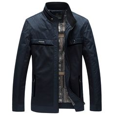 Mens Business Jacket Fashion Casual Stand Color Spring Autumn Thin Zipper Coat