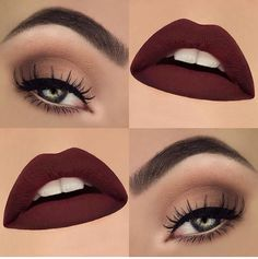 Beau real eye makeup and bold cranberry lips