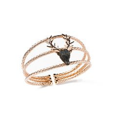 Silver Deer Rose Gold Plated Bangle