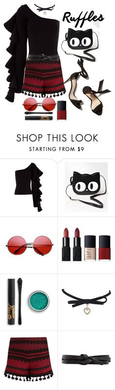 """""""Ruffles & Pom Poms"""" by loves-elephants ❤ liked on Polyvore featuring Beaufille, Banned, ZeroUV, NARS Cosmetics, Dodo Bar Or, Isabel Marant and ruffledshirts"""