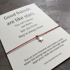 Bracelet gift card Friendship quote best gift Wish by Carrieclover