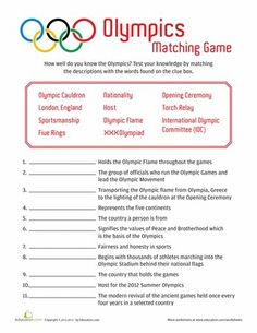 Worksheets: Olympic Trivia