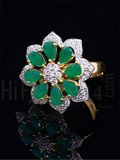 Green CZ Stone Designer Finger Ring