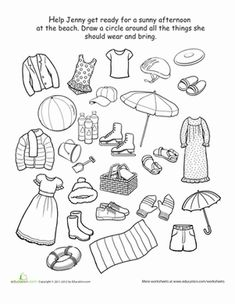 Preschool Weather & Seasons Life Learning Worksheets: What to Wear to the Beach