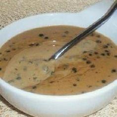 Sauce Au Poivre recipe, no steak needed Black Pepper Sauce Recipe, Green Pepper Sauce, Green Pepper Recipes, Peppercorn Sauce For Steak, Pepper Sauce For Steak, Au Poivre Sauce, Steak Au Poivre, Barbacoa, Salads