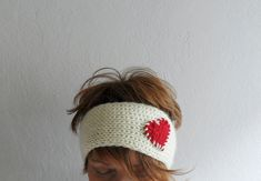 Knit Heart Headband Cream and Red Ear warmer by fizzaccessory