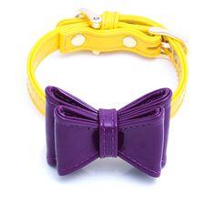 "Enamel Ribbon DOG Collar Bow Set ""SUNSHINE & OH SO PURPLE"""