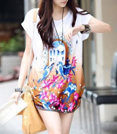 Round Neck Floral Print Loose Coffee Ice Silk T-shirt