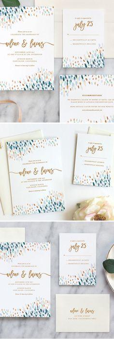 Love these beautiful watercolor wedding invitations by Fine Day Press #weddinginvitation