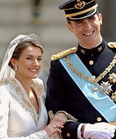 Prince Felipe and his new bride, Letizia on their wedding day in 2004 - with the abdication of King Juan Carlos I, Price Felipe will now be King