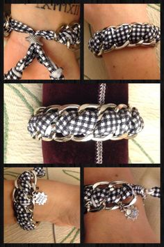 This bracelet is made by a silver double CHAIN and 40 cm of LYCRA..   you can made this bracelet with a different type of lycra , i will put here some tutorials <3