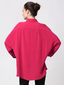 VOA Women's Shirt Batwing Sleeve Turn Down Collar High Low Silk Solid Loose Top