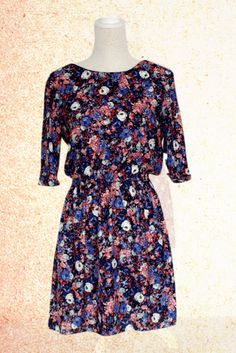 Charming Round Neck Half Sleeve Floral Dress for Ladies