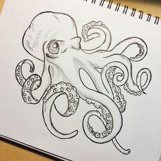 black and white octopus drawing - Szukaj w Google
