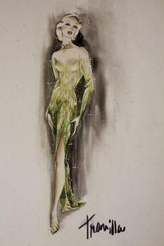 William Travilla - Costumes - Esquisses et Croquis - Marlène Dietrich - Couture