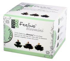 AKTION: 15 Stück Weißtee Mini-Teeblumen BigBox to go für 1-3 Tassen in toller Probier- und Geschenkbox, 3x 5 Stück Teerosen hochwertiger weißer Tee aus der Frühjahrsernte mit natürlichen Jasmin- und Rosenblüten, Bloomini Teerosen von Feelino