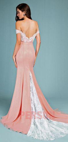 7bde82b9231 robe de soirée sirène sexy vieux rose dos nu appliqué de dentelle coton