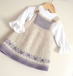 """NO SEAMING Baby / Toddlers Easter Pinafore Dress [   """"Ravelry: Luv U Forever Pinafore Dress pattern by OGE Knitwear Designs"""",   """"This sweet little classic Pinafore dress has absolutely no seaming! Dress bodice comes with two options, plus Charts for the hemline and Bodice. You could also knit this in plain stocking stitch, with no fair isle, which would be suitable for the Beginner"""" ] #<br/> # #Pinafore #Dress,<br/> # #Easter #Dress,<br/> # #Baby #Knitting,<br/> # #Baby #Knits,<br/> #…"""