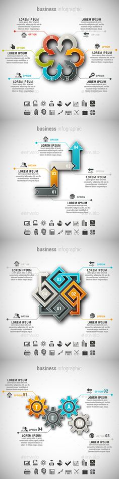 4 in 1 Business Infographics Bundle — Photoshop PSD #orange #icon • Available here → https://graphicriver.net/item/4-in-1-business-infographics-bundle/15086693?ref=pxcr