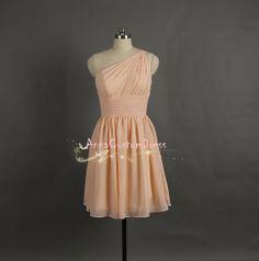 Short Light Peach Bridesmaid Dress/Custom Wedding Party Dress/Peach Grey Mint Navy Blue Coral Bridesmaid Dress/Prom Dress/Formal Dress