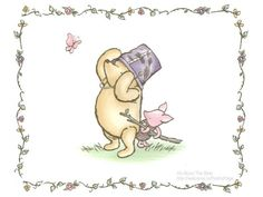 6f15dc10311f Set of 4 Classic Winnie the Pooh and Piglet Cards Instant