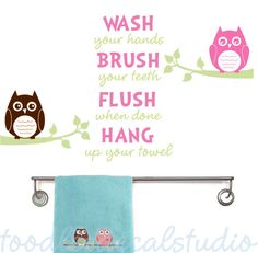 OWLS Bathroom Rules Kids Vinyl Wall Decal Sticker