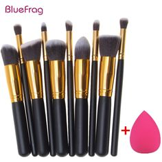 2458149c95b BLUEFRAG Mini 10pcs Makeup Brushes Foundation Blending Blush Make up Brush  + 1 Water Sponge Cosmetics Puff, Beauty tool Kit Set-in Makeup Scissors  from ...