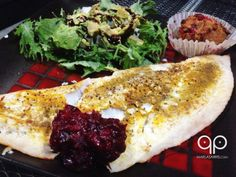 Baked Flounder with Cranberry Sauce