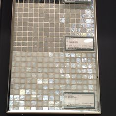 """Murano iridescent glass tile in """"oyster"""" and """"pearl"""" from Olympia Tile. Feature wall in powder room behind pedestal sink. Downstairs Bathroom, Bathroom Wall, Master Bathroom, Olympia Tile, Pedestal Tub, Kitchen And Bath Remodeling, Glass Sink, Feature Tiles, Entrance Ways"""
