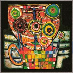 """Blobs grow in the Flower Pot""  Friedensreich Hundertwasser. Friedensreich Hundertwasser (1928 – 2000) was an Austrian architect and painter."