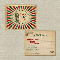 25 invitation post cards, July 4th, fourth of july, celebration, bbq, outdoor, family reunion, vintage, retro, summer. $37.50, via Etsy.