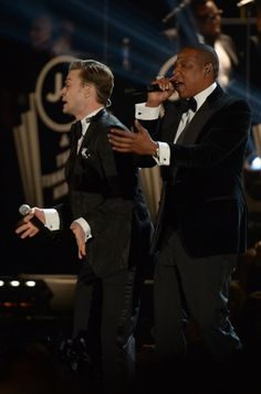 US-MUSIC-GRAMMY AWARDS-SHOW Justin Timberlake and Jay-Z perform at the stage at the Staples Center during the 55th Grammy Awards in Los Angeles, California, February 10, 2013. AFP PHOTO Joe KLAMAR (Photo credit should read JOE KLAMAR/AFP/Getty Images)