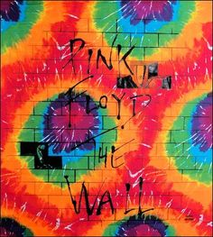 "Pink Floyd the Wall Silk Screened Tie Dye Fabric Wall Hanging Giant 40""x45"""