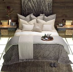 Rustic Modern OMG LOVE LOVE this bedroom, wall headboard I love everything about it, colors are awesome, look how the Gray silver works with wood!!!  WOW