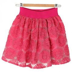 Indressme | Women's Sunflower Embroiderd Free Size Rose Red Mini Skirt style 223603 only $38.99 .