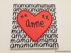 Voor mama - Kunst schilderij hart - voor Moederdag | Moederdag mama kunst-schilderij | Mothersday Art canvasdoekje-kids | Kinderen Knutselen Moeder-mams-hart